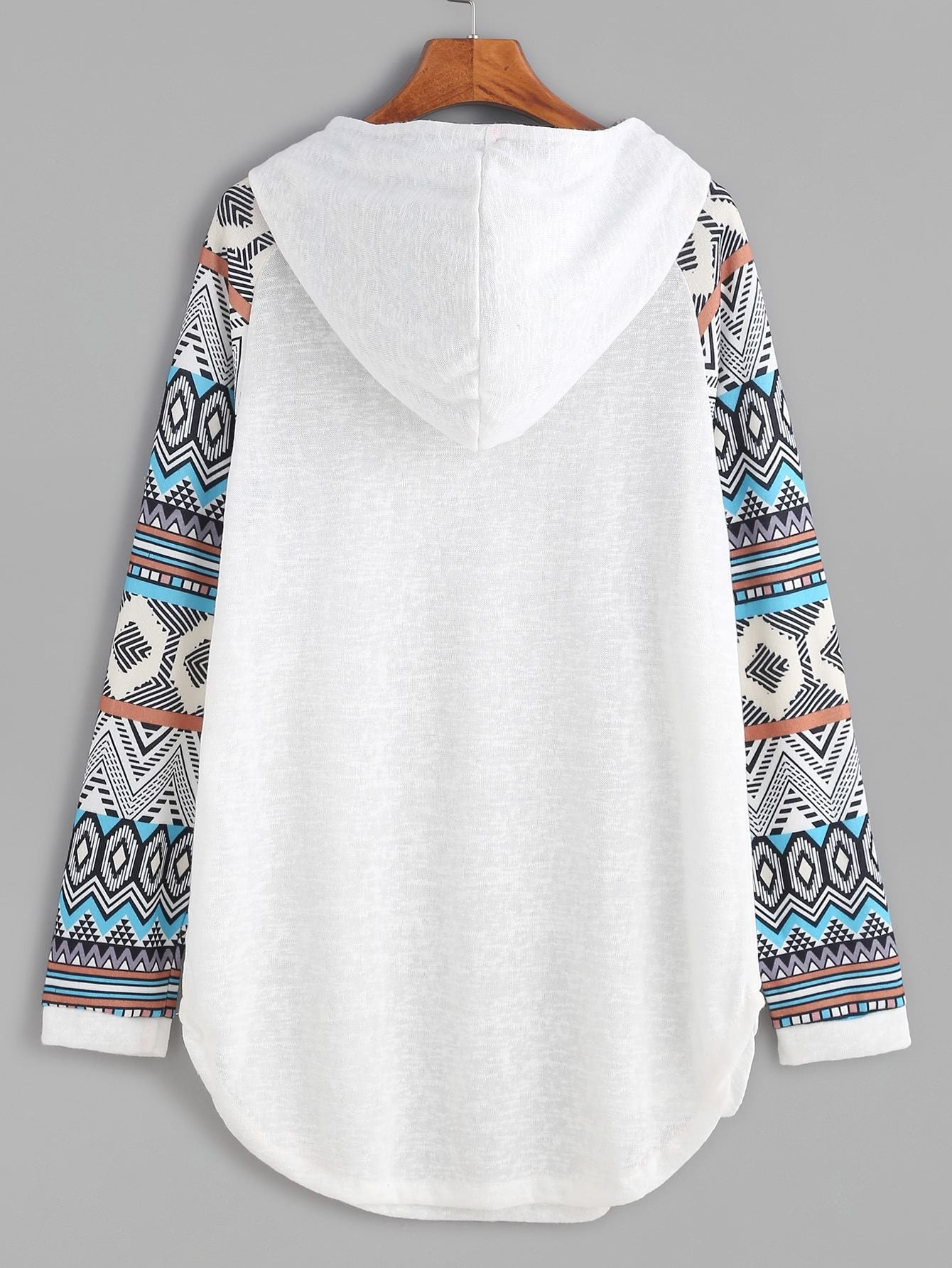 Contrast Raglan Sleeve Curved Hem Hooded Sweatshirt