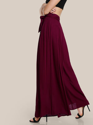 Self Tie Fold Pleated Palazzo Pants