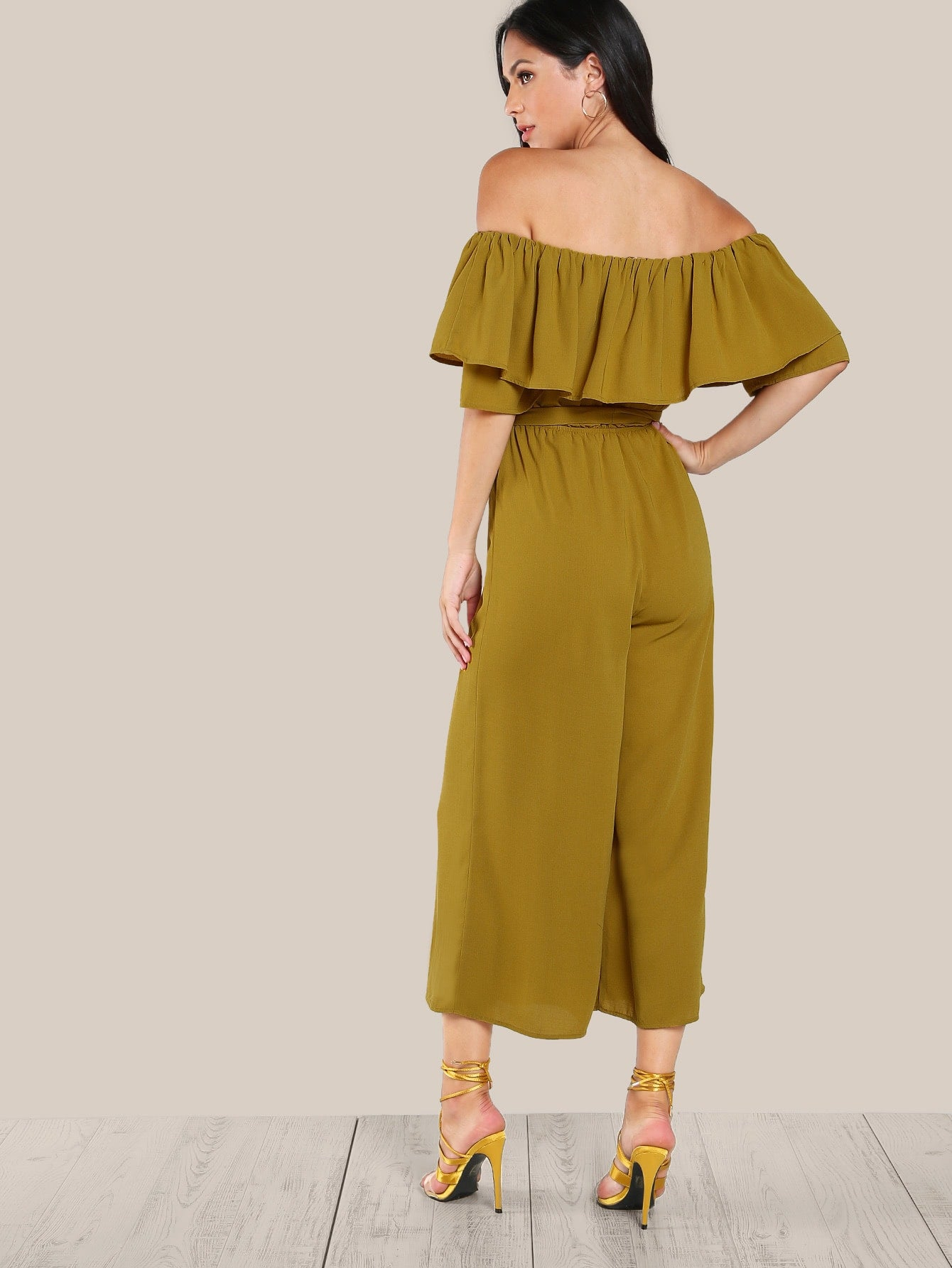 Flounce Off Shoulder Self Tie Culotte Jumpsuit