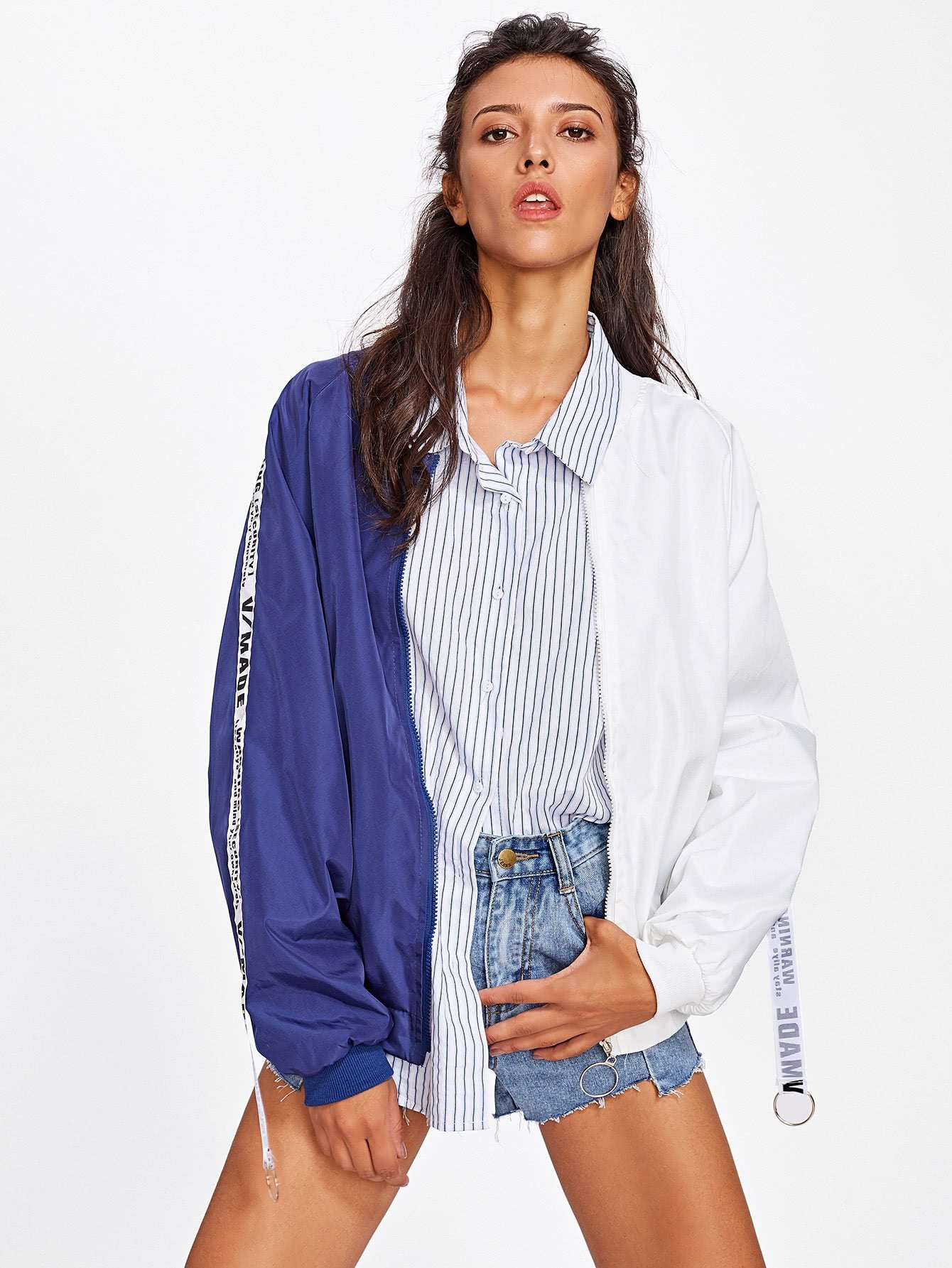 Patch Back Ribbon Detail Two Tone Bomber Jacket