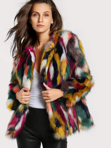 Colorful Faux Fur Coat