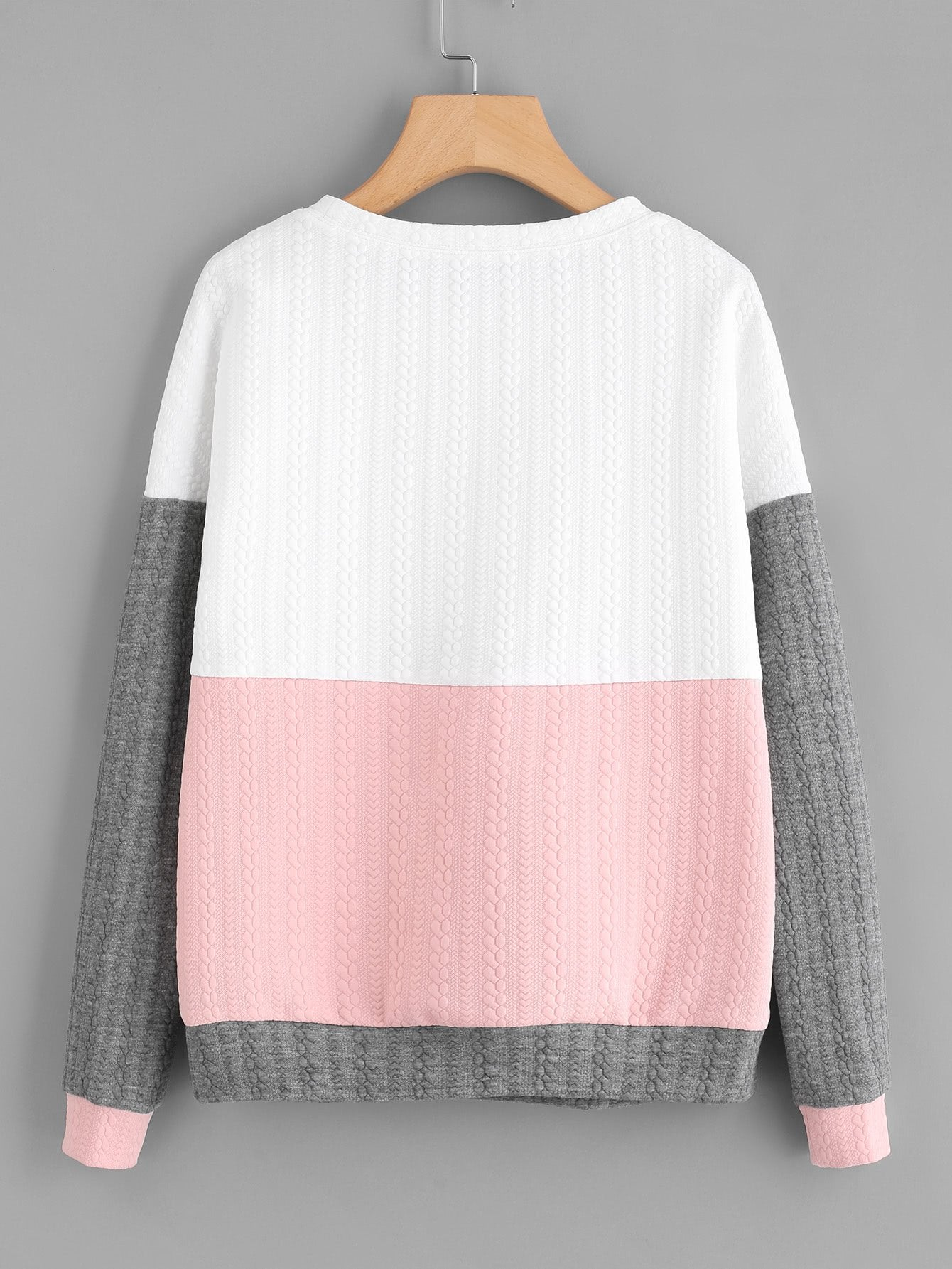Cut And Sew Textured Sweatshirt