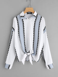 Button Up Knotted Hem Shirt