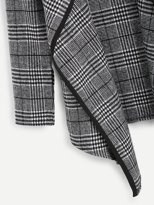Tartan Plaid Waterfall Neck Jacket