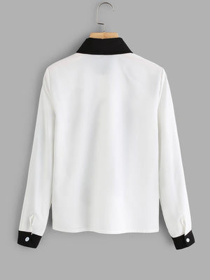 Contrast Trim Tie Neck Embroidered Applique Shirt