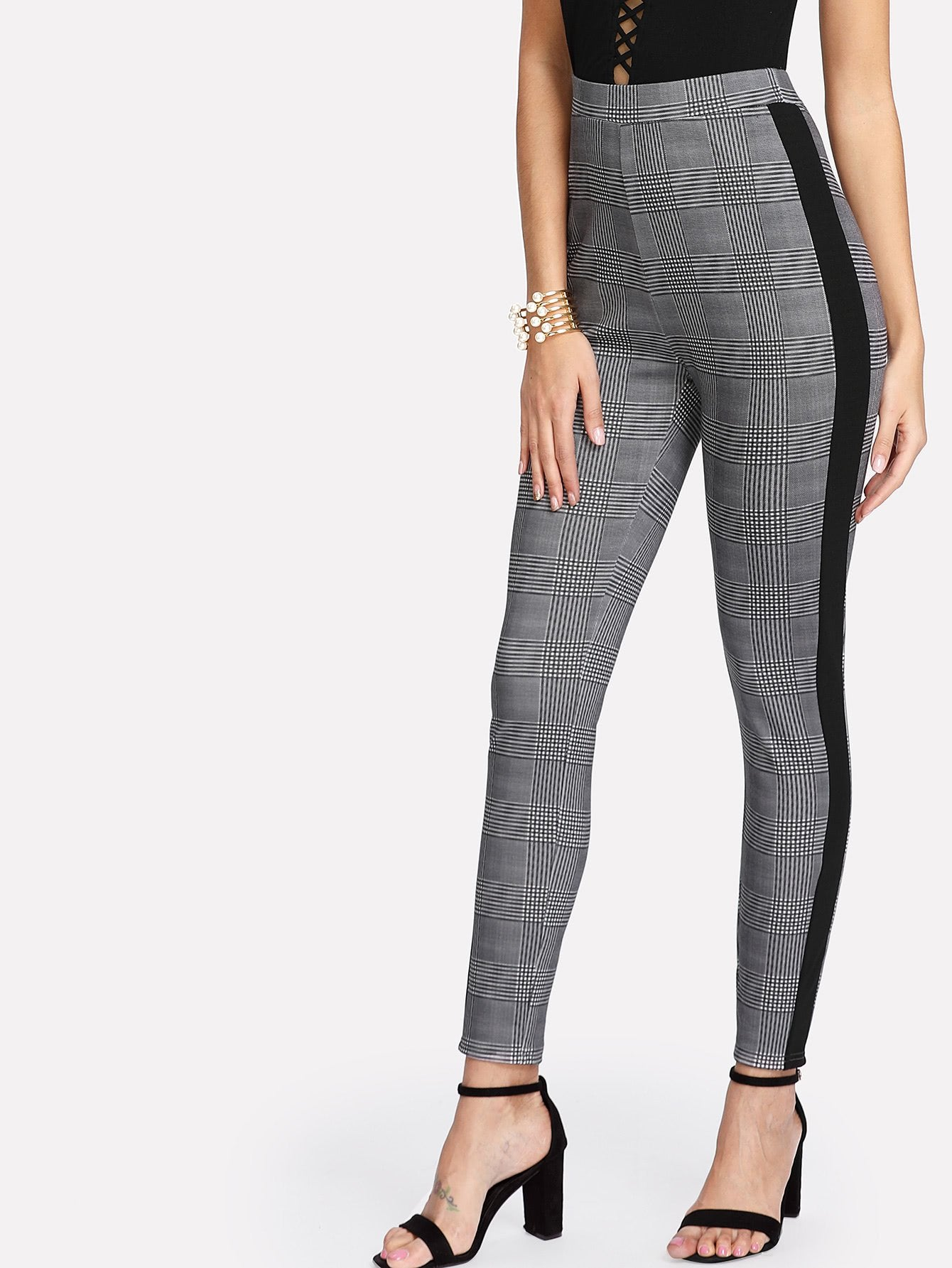 Contrast Tape Side Plaid Tapered Pants
