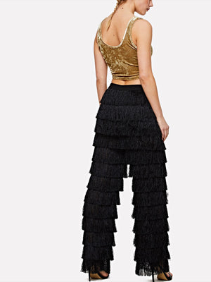 Solid Layered Fringe Pants