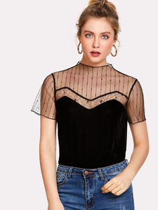 Striped Mesh Yoke Velvet Top