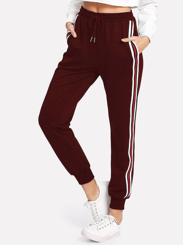 Striped Tape Side Drawstring Sweatpants