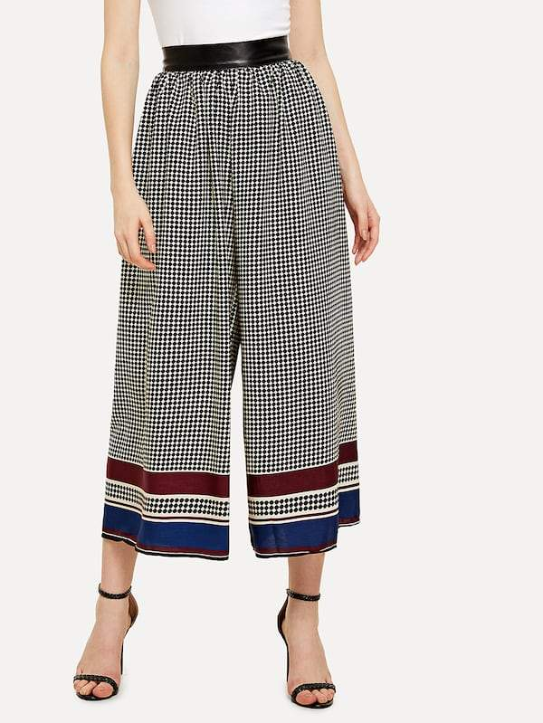 Striped Hem Wide Leg Pants