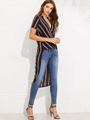 Striped Print Surplice Wrap Draped Dip Hem Top