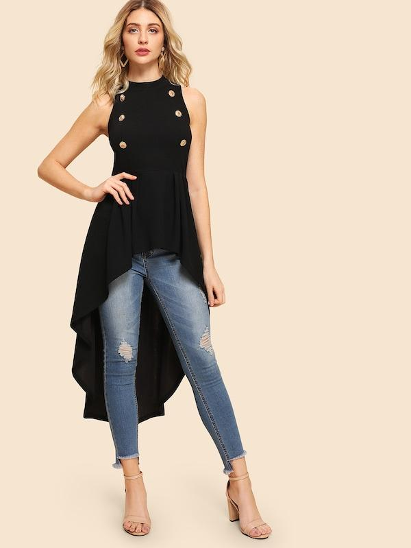 Double Button Embellished Dip Hem Shell Top