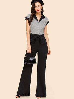 Cuffed Flared Leg Pants with Belt