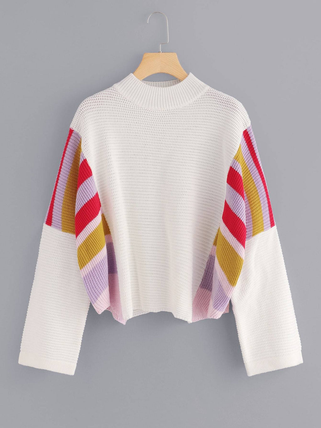 Striped Panel Loose Fit Sweater