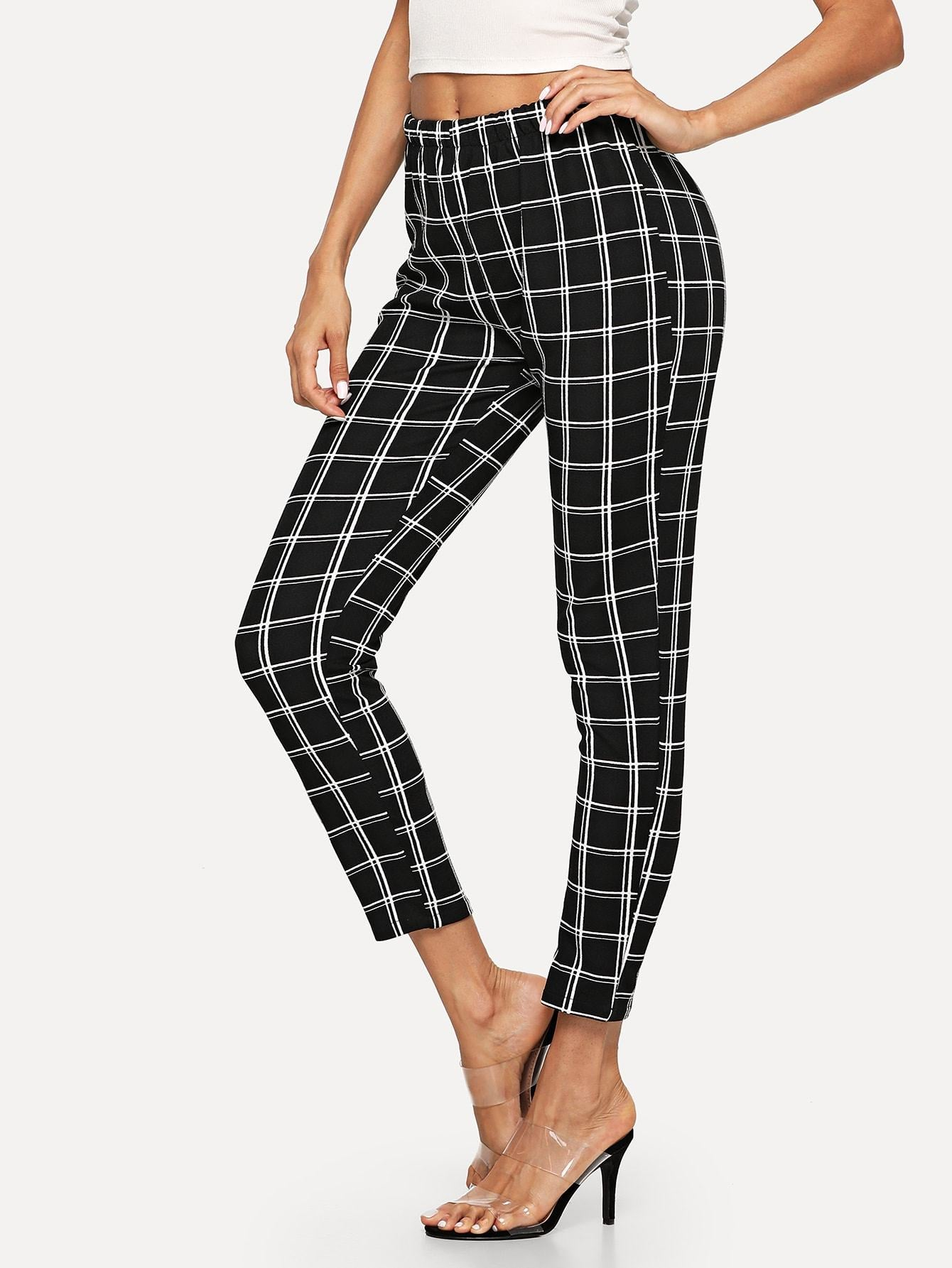 Elastic Waist Checked Pants