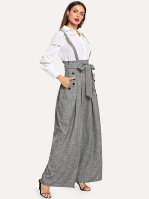 Slant Pocket Double Breasted Detail Belted Pants with Strap