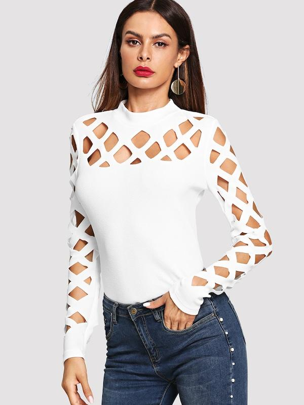 Square Cutout Shoulder Fitted Tee