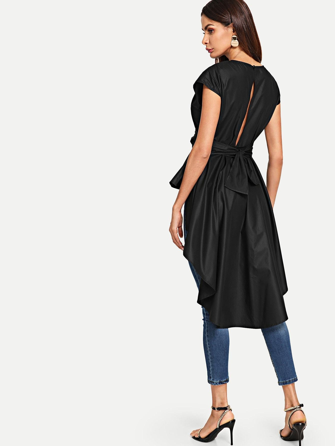 Asymmetrical Hem Button Back Belted Top