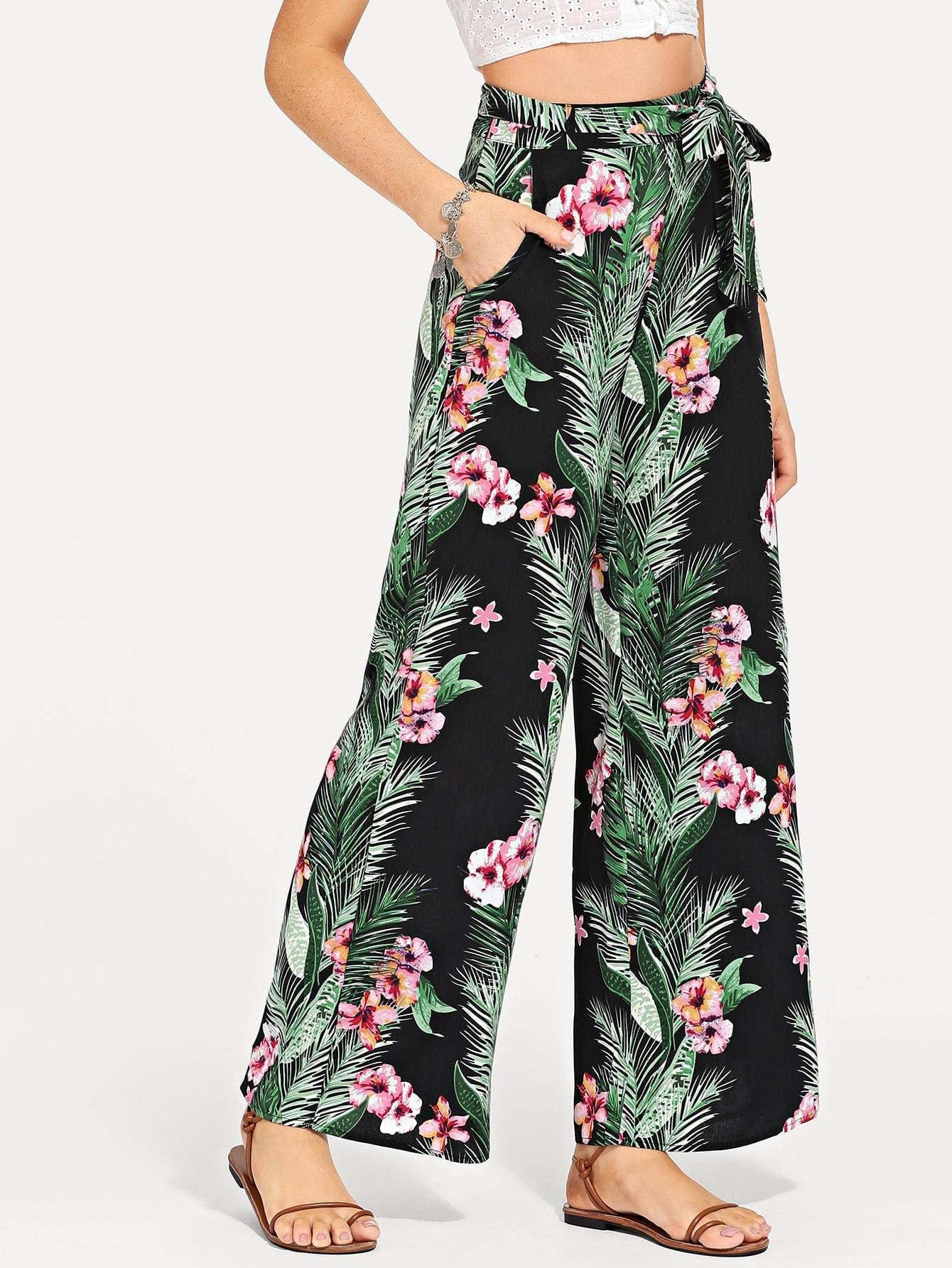 Waist Belted Tropical Print Pants