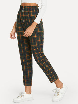 Exposed Zip Fly Plaid Peg Pants