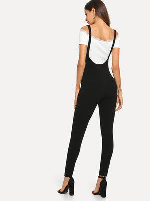 Zip Up Skinny Pants with Strap