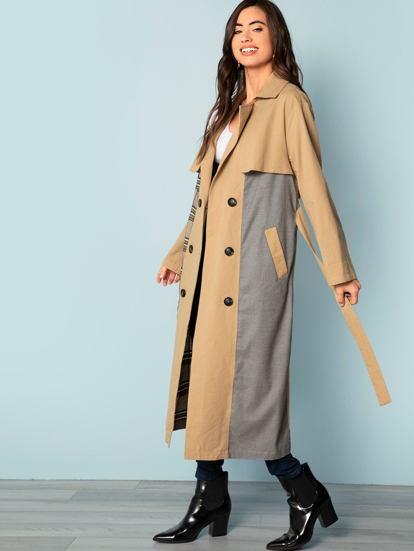 Double Button Cut and Sew Long Coat