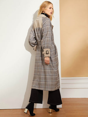 Notched Neck Waist Belted Plaid Coat