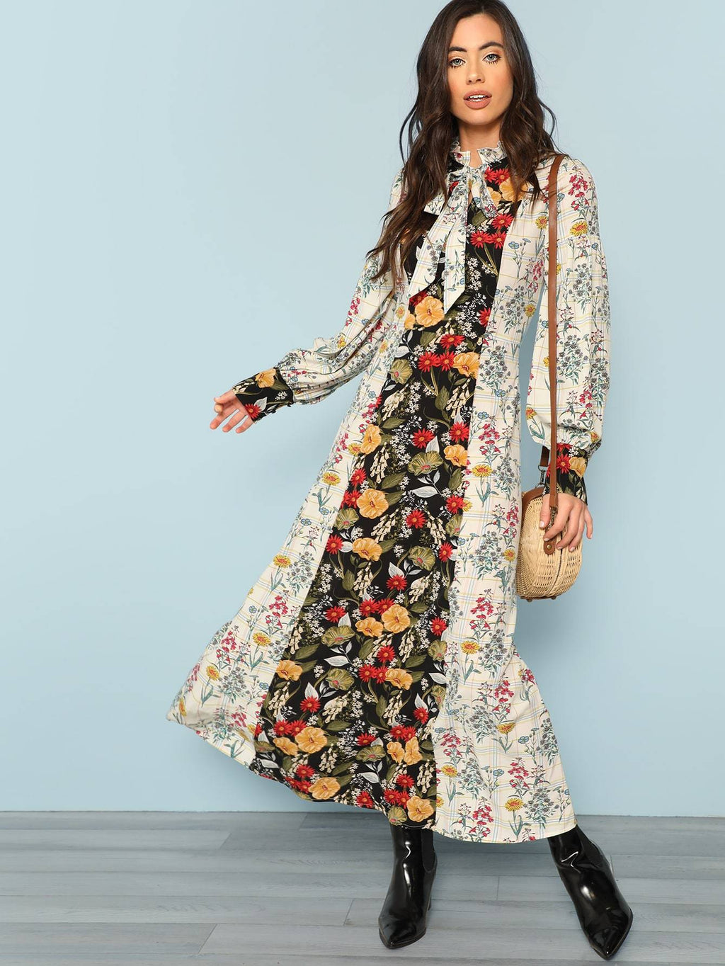Mock Neck Lantern Sleeve Cut and Sew Floral Dress