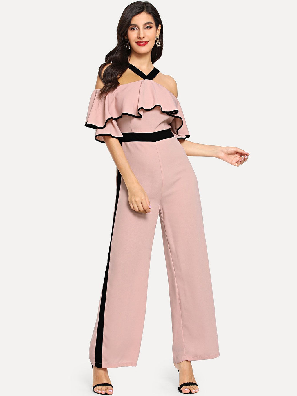 Two Tone Halterneck Cold Shoulder Jumpsuit