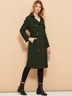 Button Decoration Solid Coat