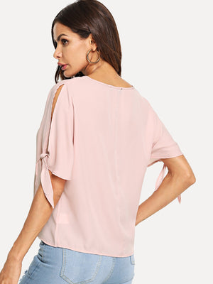 Pearl Beading Knotted Split Sleeve Top