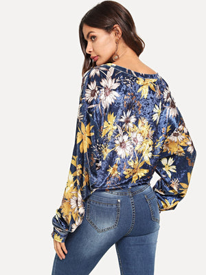 Knot Front Floral Print Sweatshirt
