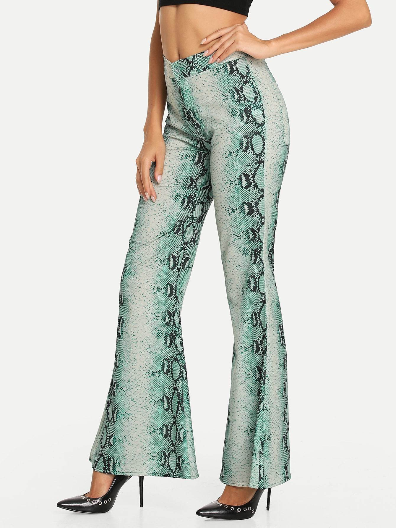 Snakeskin Flared Pants