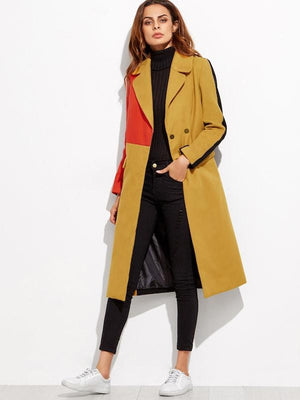 Colorblock Double Breasted Coat