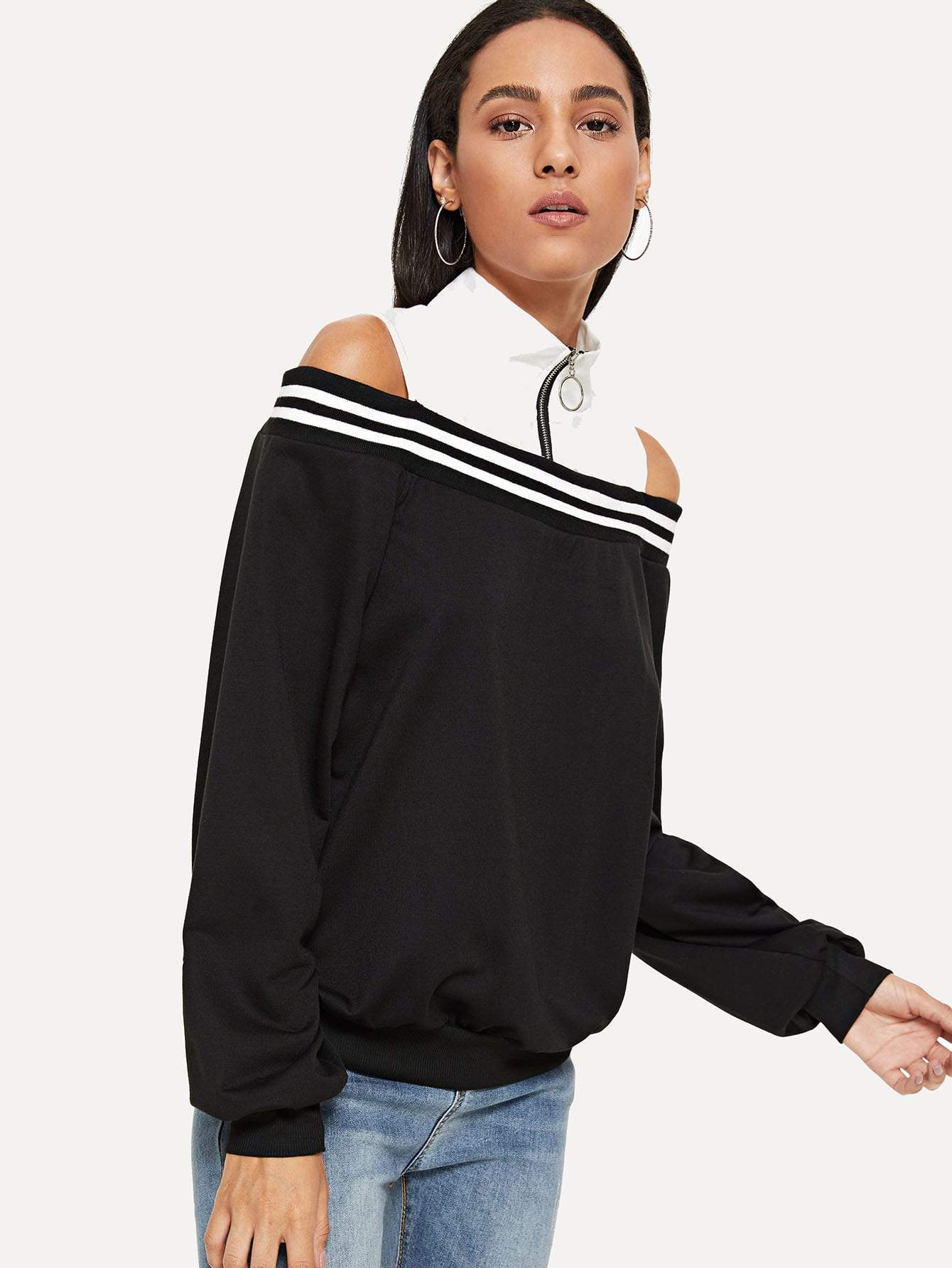 Cold Shoulder Zip Front Sweatshirt