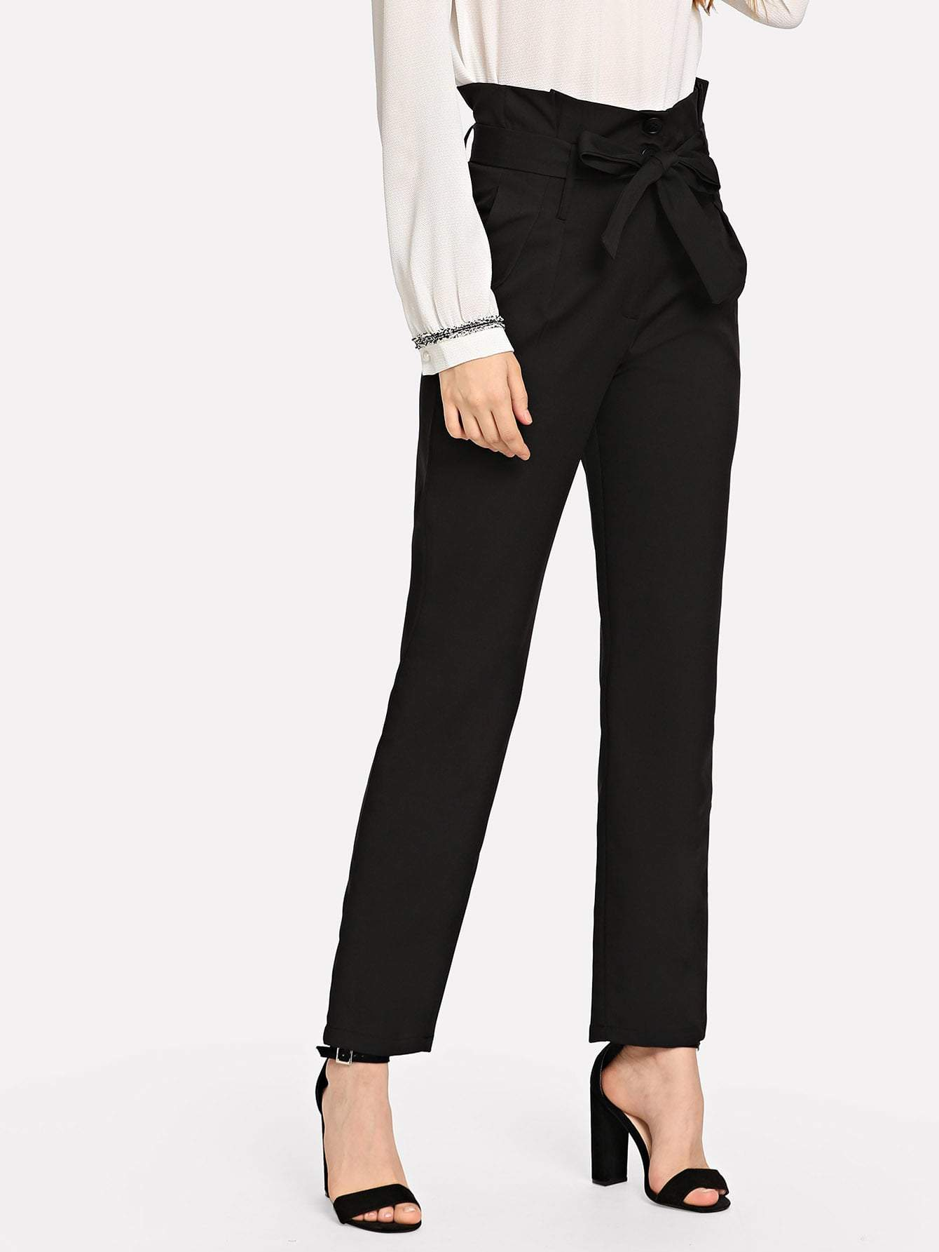 Ruffle Detail Belted Pants