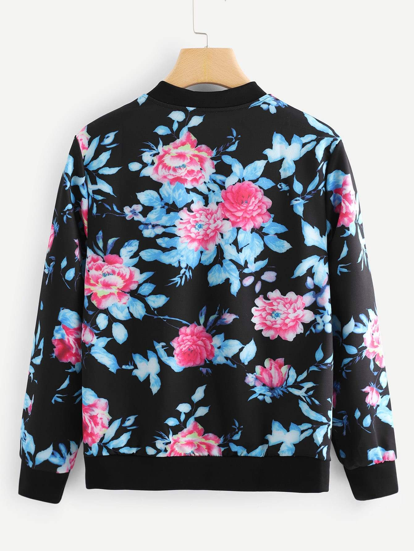 Stand Neck Floral Print Jacket
