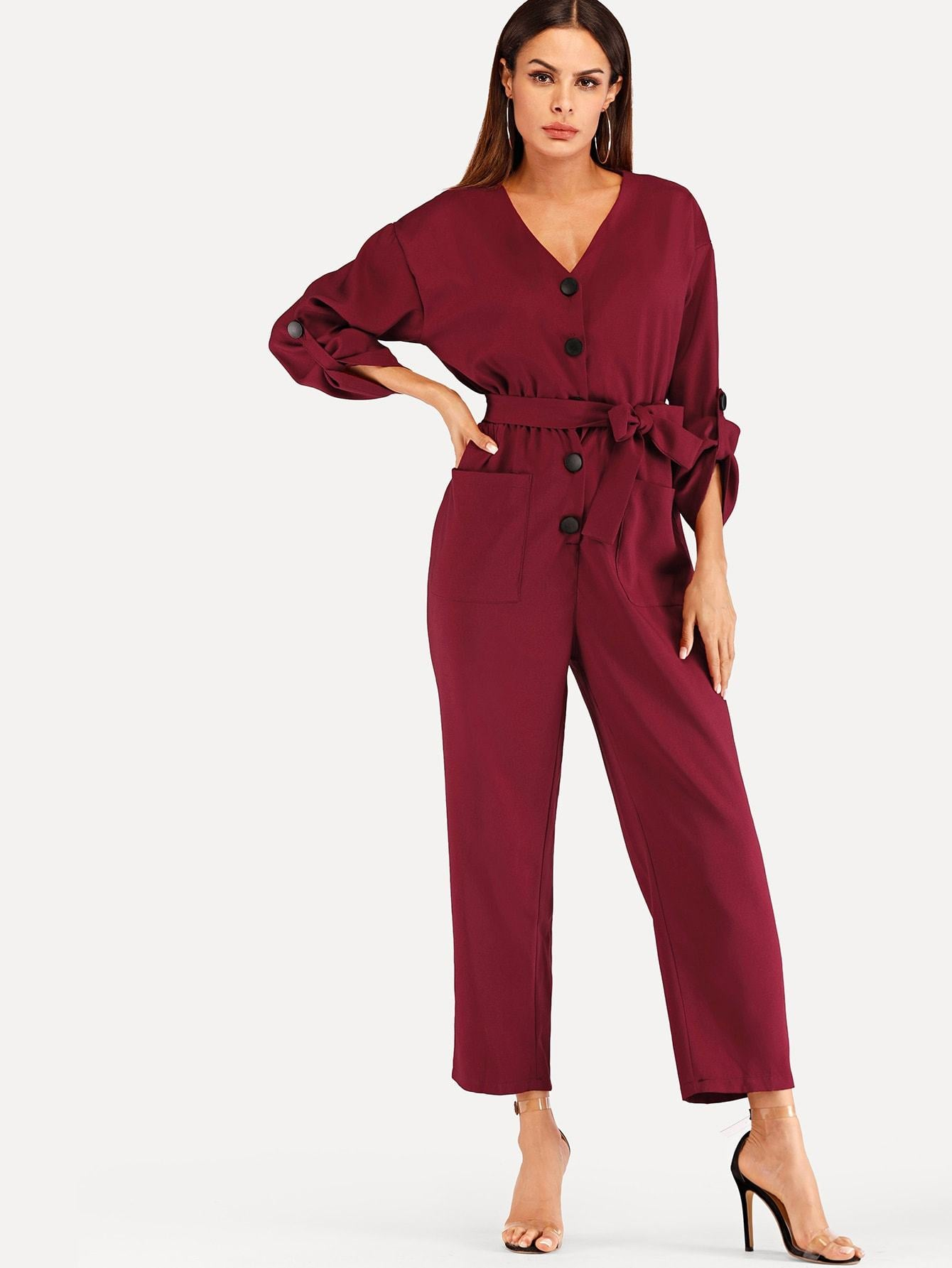 Pocket Decoration Solid Jumpsuit