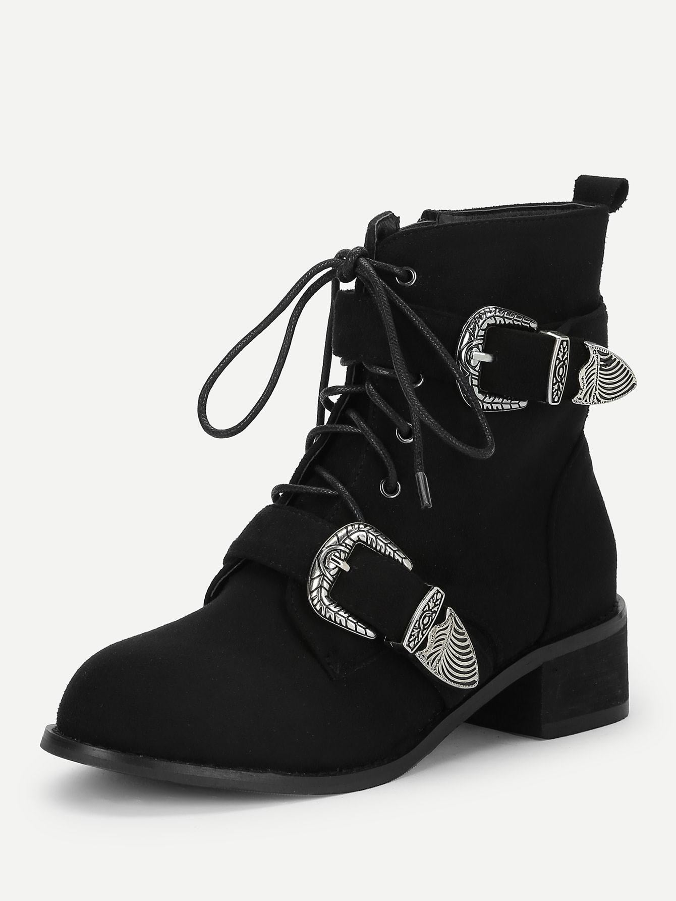 Buckle Decorated Lace-Up Boots