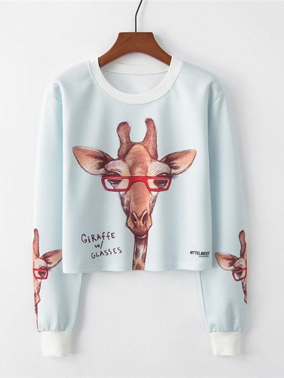 Giraffe And Letter Print Pullover