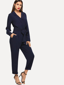 Surplice Neck Self Belted Slant Pocket Jumpsuit