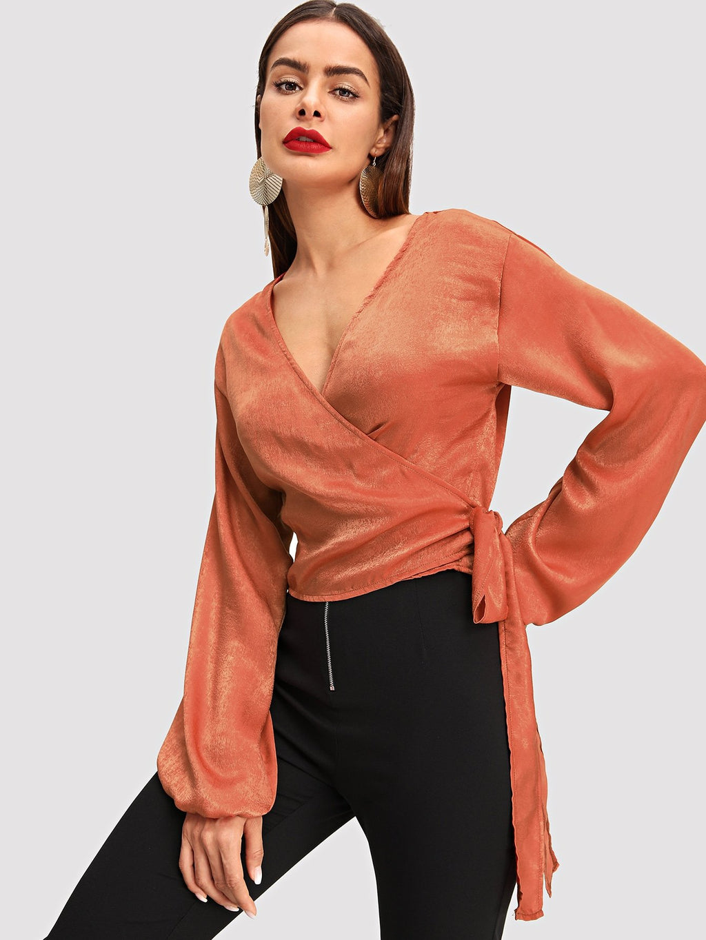 Bishop Sleeve Surplice Wrap Top