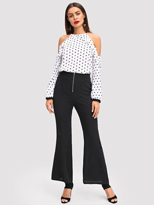 Open Shoulder Ruffle Trim Dot Top