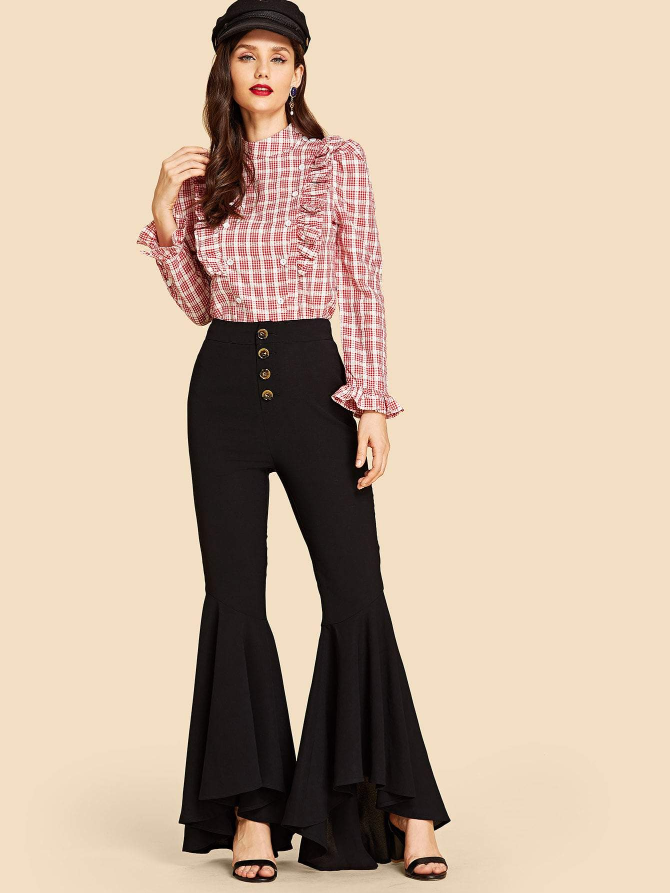 Button Fly Flare Leg Pants
