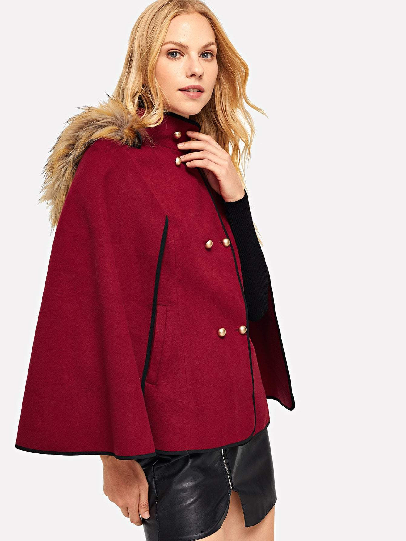 Double Button Faux Fur Hoodie Poncho Coat