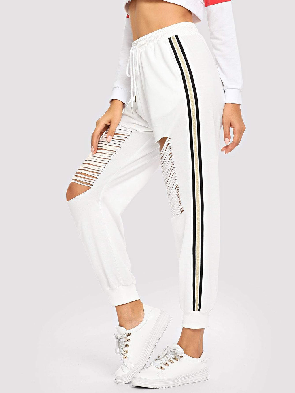 Letter Print Hoodie Striped Top & Drawstring Pants Co-Ord