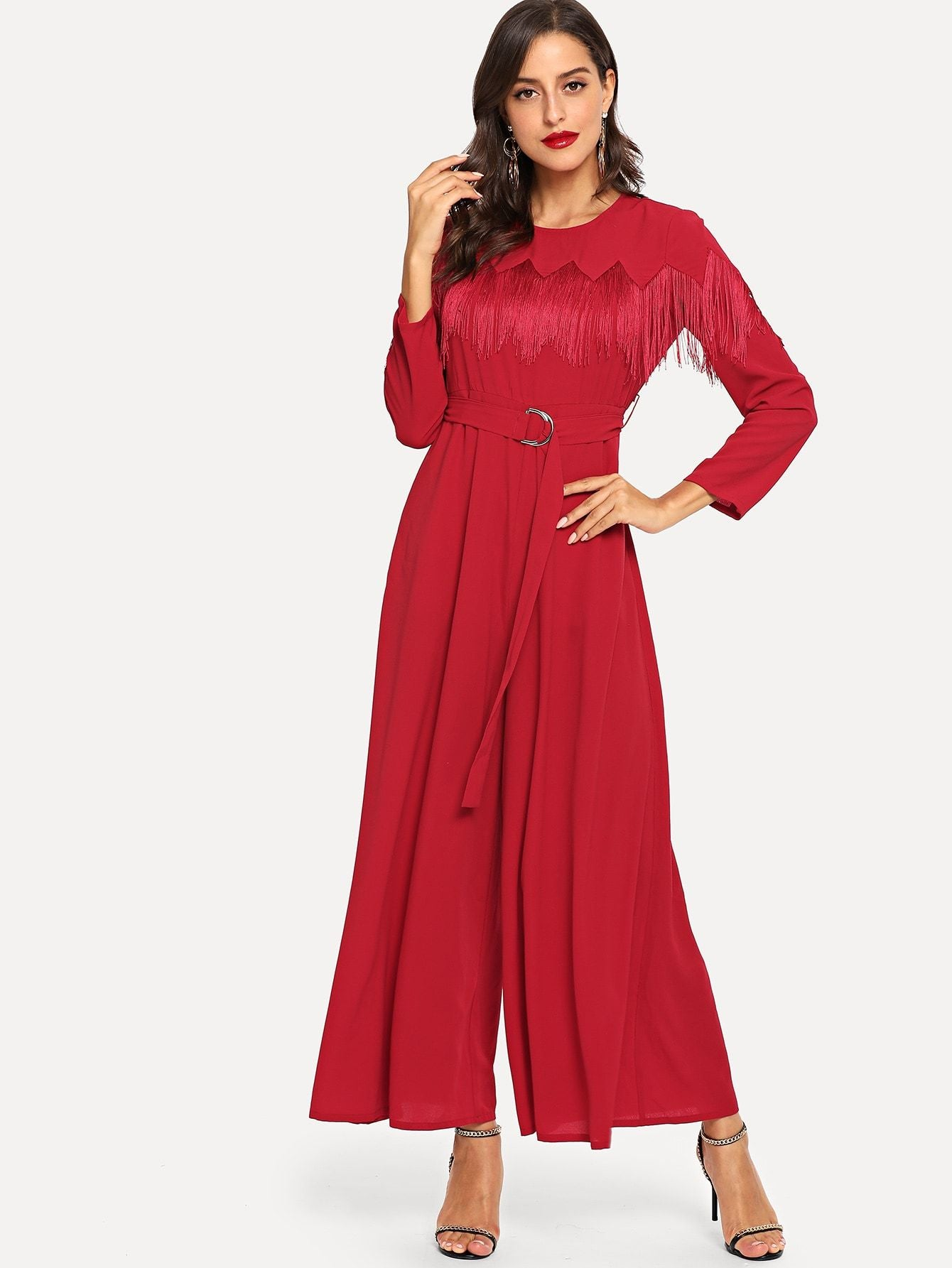 Fringe Detail Belted Solid Wide Leg Jumpsuit