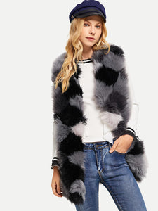 Cut and Sew Faux Fur Vest