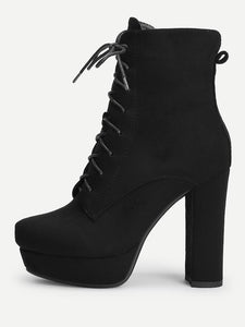 Lace Up Platform Block Heeled Boots