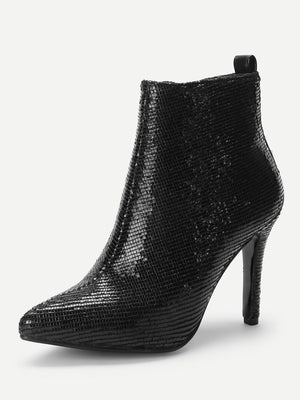 Studded Back Metallic Point Toe Ankle Boots